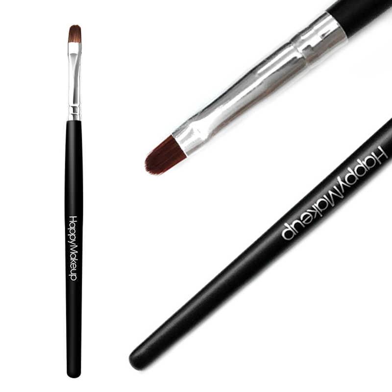 Warna Hitam Rambut Lipstik Lip Gloss Riasan Sikat Kayu Pegangan Lembut Tahan Lama untuk Bibir Kecantikan Membuat Alat Wanita Baru TSLM1