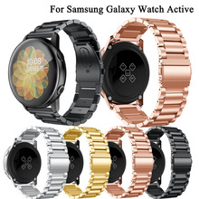 Watchband for Samsung galaxy watch active 2 44mm 40mm bands 20mm Stainless Steel Metal bracelet wrist strap for amazfit bip