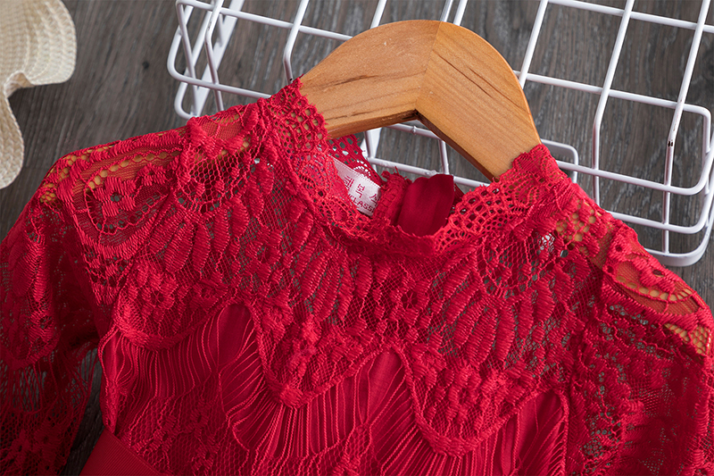 H6855b5bc712d4789b94a56bd081410beC Red Kids Dresses For Girls Flower Lace Tulle Dress Wedding Little Girl Ceremony Party Birthday Dress Children Autumn Clothing