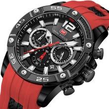 Męskie zegarki Top marka luksusowe kwarcowe wodoodporne sportowe zegarki na rękę Reloj Hombre Montre Homme Relogio Masculino czerwony pasek silikonowy