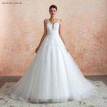 Sexy Back Ball Gown Wedding Dress with Shinning Lace Appliques Chapel Train Cheap Bride Dress(China)