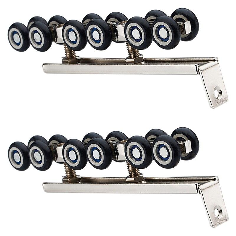 1 Pair/Set Cold Rolled Steel Sliding Wooden Door Closet Hardware Kit Door Wheels Roller 12 Wheels Hangers Roller
