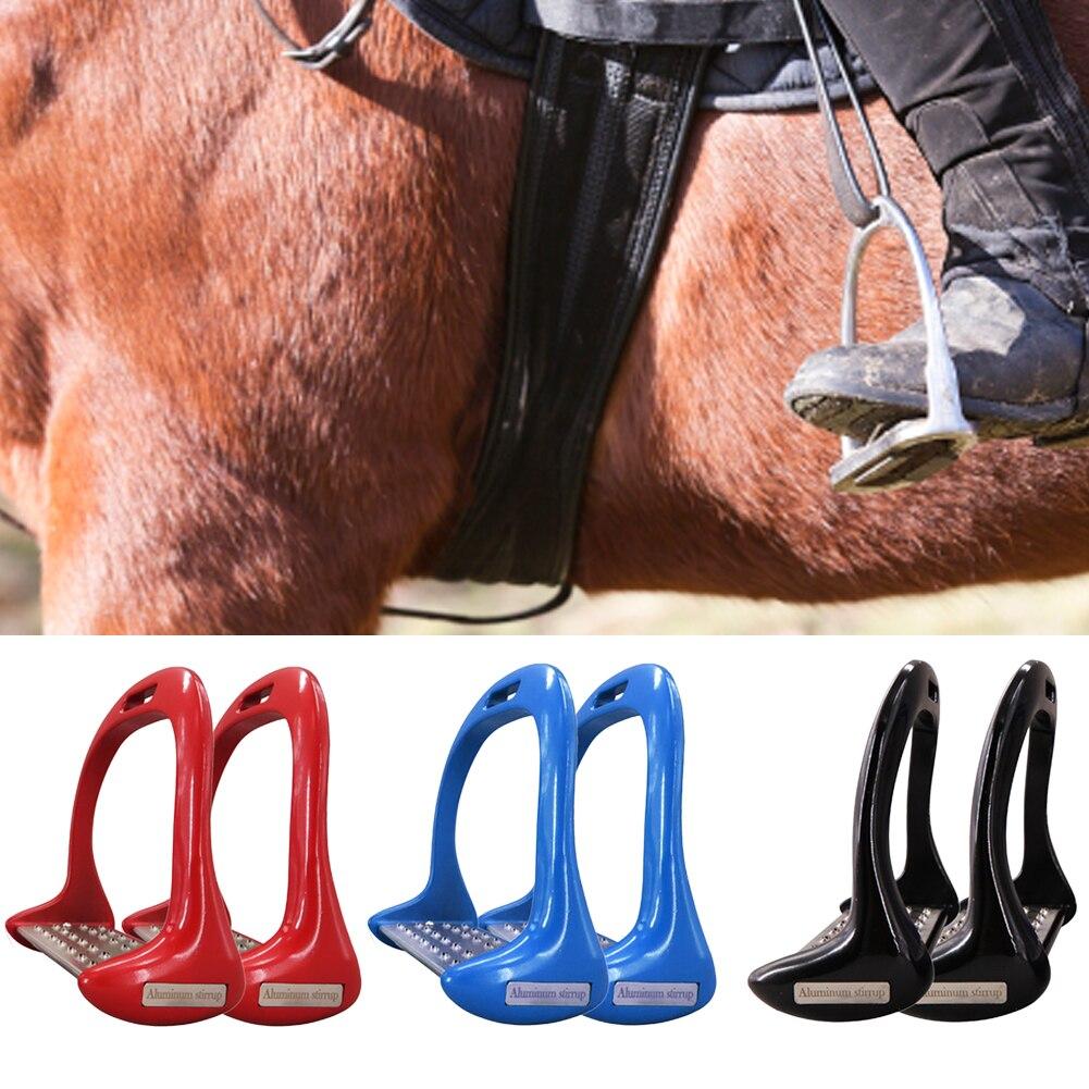 1 Pair Horse Stirrups Pedal Outdoor Sports Treads Riding Aluminium Alloy Supplies Anti Slip Lightweight Equestrian Safety Saddle