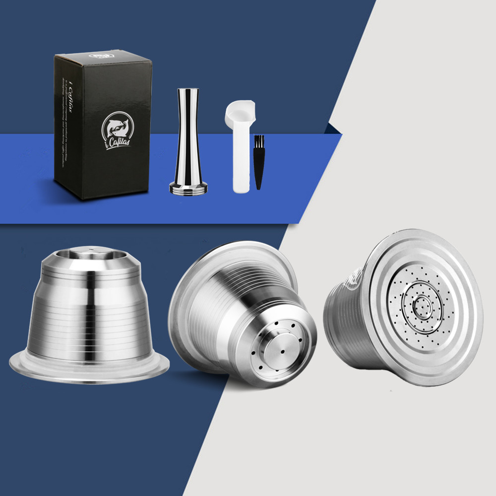 Icafilas untuk Nespresso Isi Ulang Kopi Kapsul Pod Stainless Steel Espresso Cokelat Kehitaman Filter dan Tamper Grosir