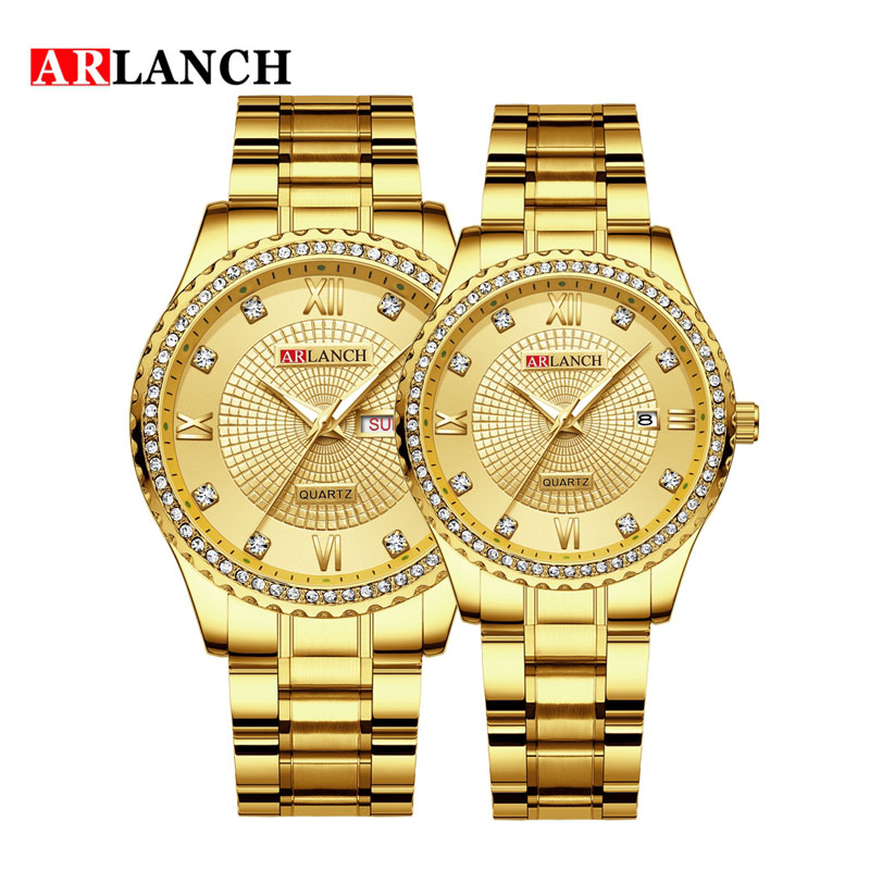 Diamond Quartz Couple Watches Men Women Double Calendar Week Stainless Steel Strap Wrist Watch Business Clock Reloj Hombre Gift