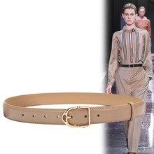 Women Belts Genuine leather Alloy gold Pin Buckle B