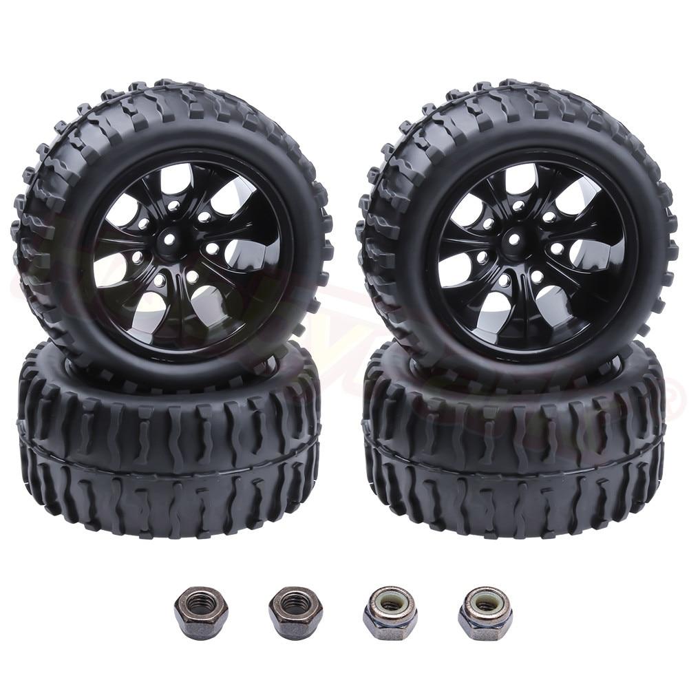 4 pçs pneu rc & aro da roda hex 12mm para rc himoto 1/10 fora da estrada monster truck apto hsp amax redcat exceder hpi corrida