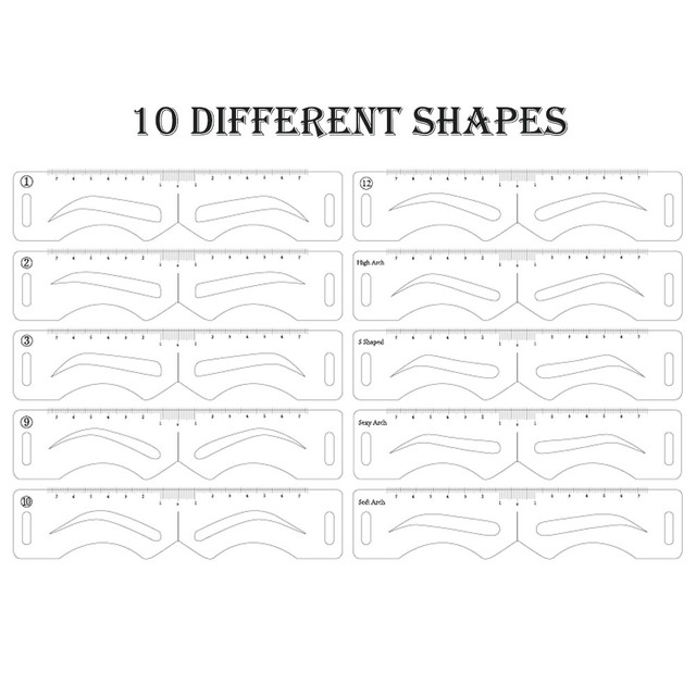 10 Styles Microblading Eyebrow Stencils Stickers Permanent Makeup Supplies Reusable Eyebrow Mold Template Drawing Guide 5