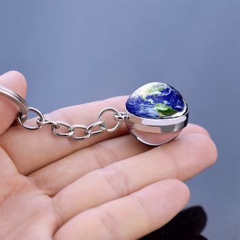 Galaxy Moon Planet Keyring Key Chains Double Side Fashion Space Keychain Mutlicolor Glass Ball Moon Earth Sun Mars Rings Jewelry image