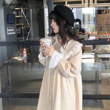 Damskie sukienki Kawaii Vintage słodki koreański, z długimi rękawami swobodny szyk prosty codzienny guzik damski koronkowy kołnierz piotru-pan Lovely Loose