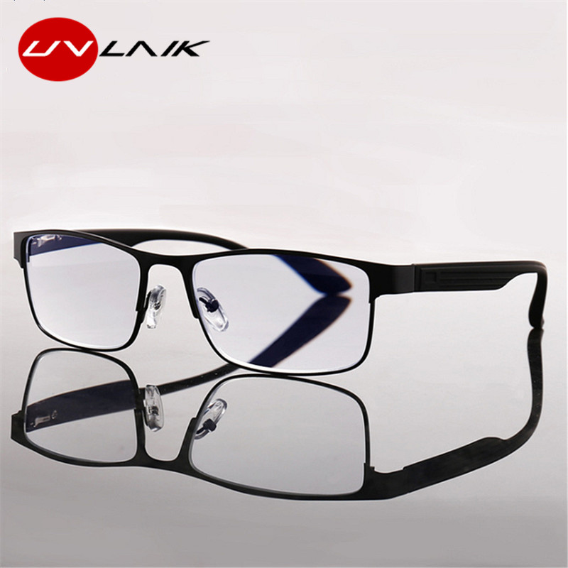 UVLAIK Reading Glasses Men Business Alloy Eyeglasses Hyperopia Presbyopia Prescription Glasses Frame 1.0 1.5 2.0 2.5 3.0 3.5 4.0