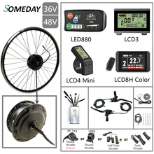 SOMEDAY 36V/48V 500W Electric Bicycle Conversion KIt 16''-29'' 700C Brushless Gear Front Hub Moto Wheel for Electric Bike mxus xf07 250w 24v 36v 48v front wheel brushless gear hub motor electric bicycle conversion kit 26 28inch 700c bike drive part