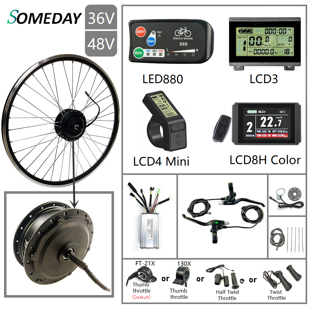 SOMEDAY 36V/48V 500W Electric Bicycle Conversion KIt 16''-29'' 700C Brushless Gear Front Hub Motor Wheel For Electric Bike
