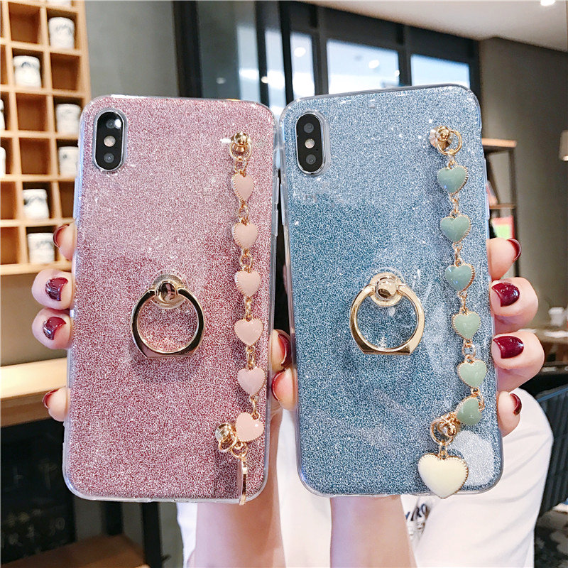 Bracelet <font><b>Cases</b></font> For For <font><b>Oneplus</b></font> 6T 6 5T 5 <font><b>3</b></font> Cover Bling Covers Bumper Soft Quicksand <font><b>Oneplus</b></font> 7 Pro Holder Stand Cover image