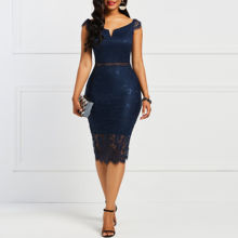 Off Shoulder Blauw Bodycon Vrouwen Jurk Sexy Backless Kant Howllow Out Cocktail Party Jurken Terug Zipper Mid-Kalf Slim vestidos(China)