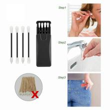 New Hot 4Pcs Reusable Silicone Cotton Swab Ear Cleaning Cosmetic Buds Swabs Sticks Double-headed Recycling Cleaning Makeup Tools
