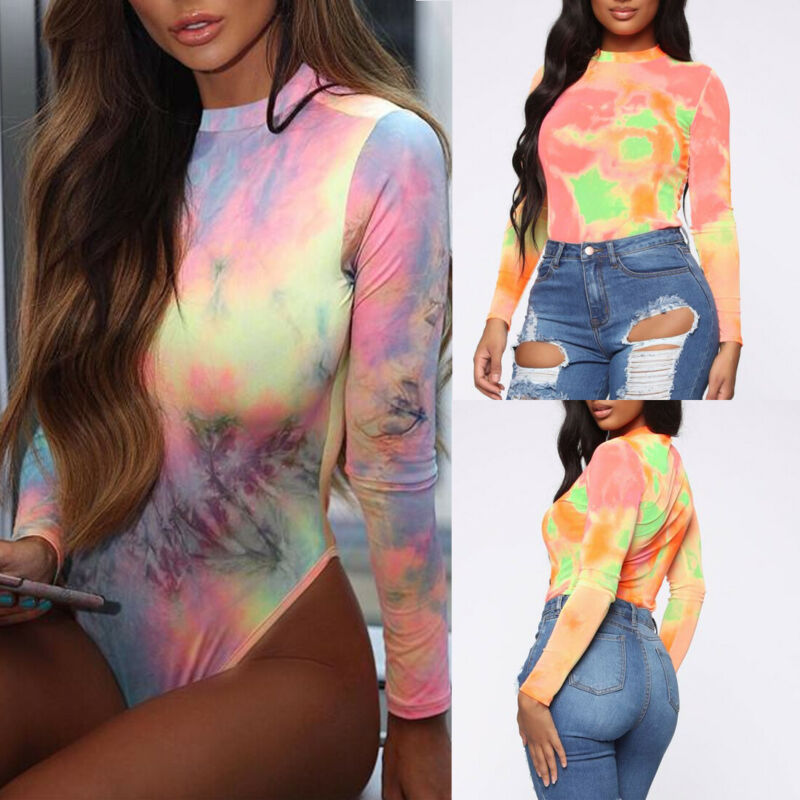 Women Sexy Slim Bodysuit Bodycon Tie Dyed   Jumpsuit   Romper Leotard Tops Lady Playsuit Long Sleeve