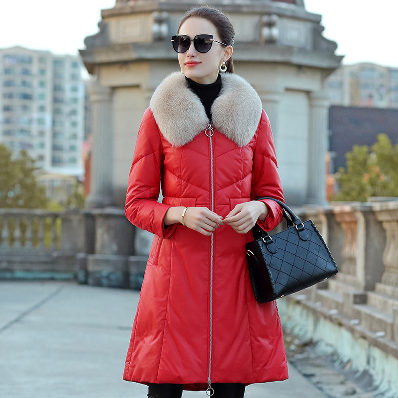 Female Coat Sheepskin Fox Fur Collar Down Jacket Winter Coat Women Real Leather Jacket Warm Long Jackets Chaqueta Mujer S