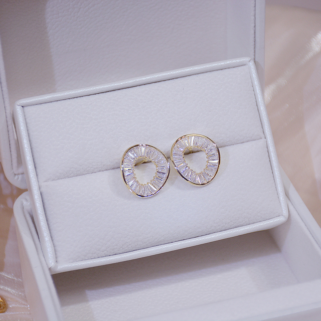 14k Real Gold Fashion Personality Irregular Circle Earring for Women Brilliant AAA Zirconia Stud Earring Brincos Wedding Pendant 3