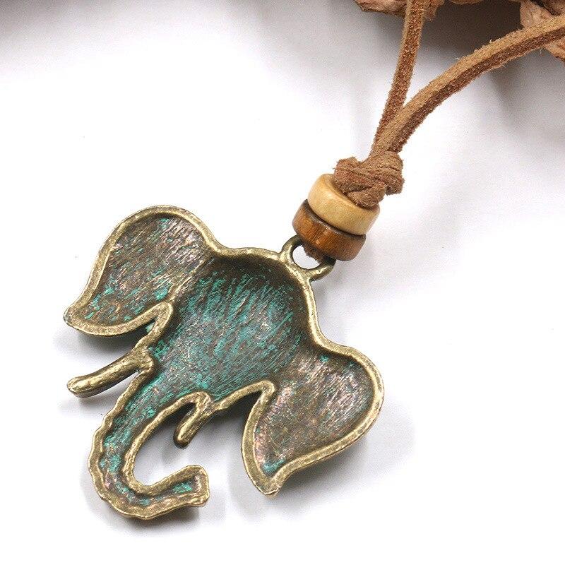 Collier en cuire avec tête d'éléphant en bronze  | oko oko