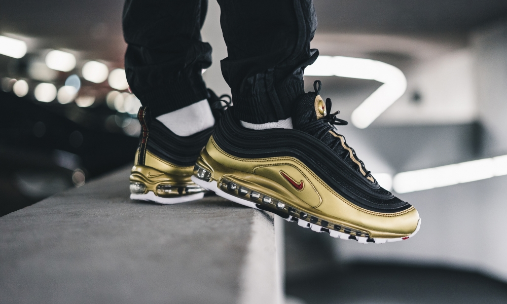 US $76.0 62% OFF|Original Nike Air Max 97 QS Men's Running Shoes Outdoor Sneakers Black Gold Athletics Designer Footwear Good Quality AT5458 002 on
