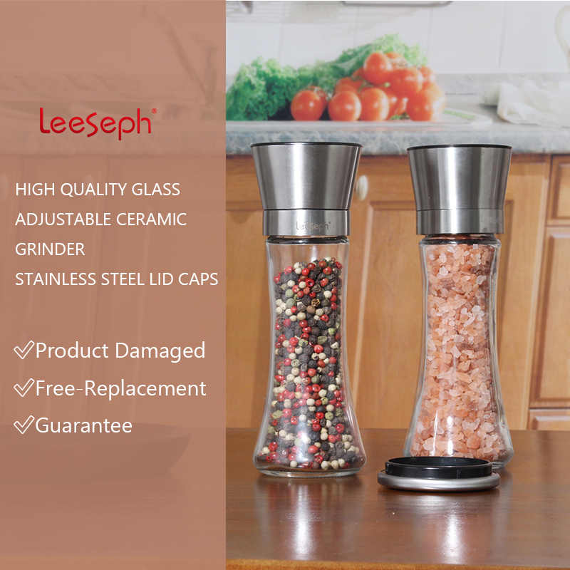 Broyeur sel poivre et poivre, ensemble de 2, réglable et facile à utiliser, corps en verre épais en acier inoxydable 304, outils de cuisine