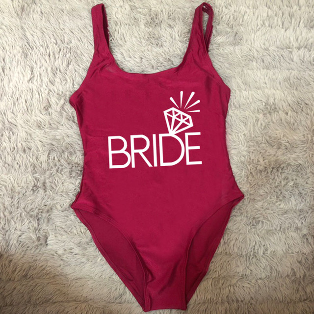 Bridal Party Swimsuit Women TEAM BRIDE One Piece Bathing Suit 2020 Sexy Bikini Beachwear Plus Size Swimwear monokini Bodysuit 5