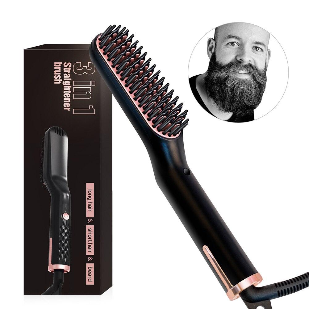 Новый выпрямитель для бороды для мужчин многофункциональный стайлер для волос электрический горячий гребень быстрая укладка кисть для вып...
