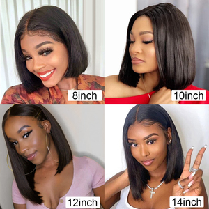 Image 5 - Lace Front Wigs Bob Peruvian Straight Lace Front Human Hair Wig Pre Plucked Natural Hairline Straight Human Hair Short Bob Wigs