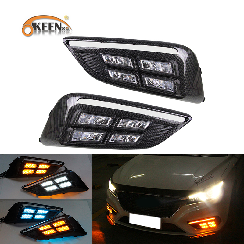 OKEEN 2pcs Car LED Daytime Running Light for <font><b>MG6</b></font> 2017 2018 <font><b>2019</b></font> Dynamics Moving Flash Turn Signal Light White Running Fog Lamps image