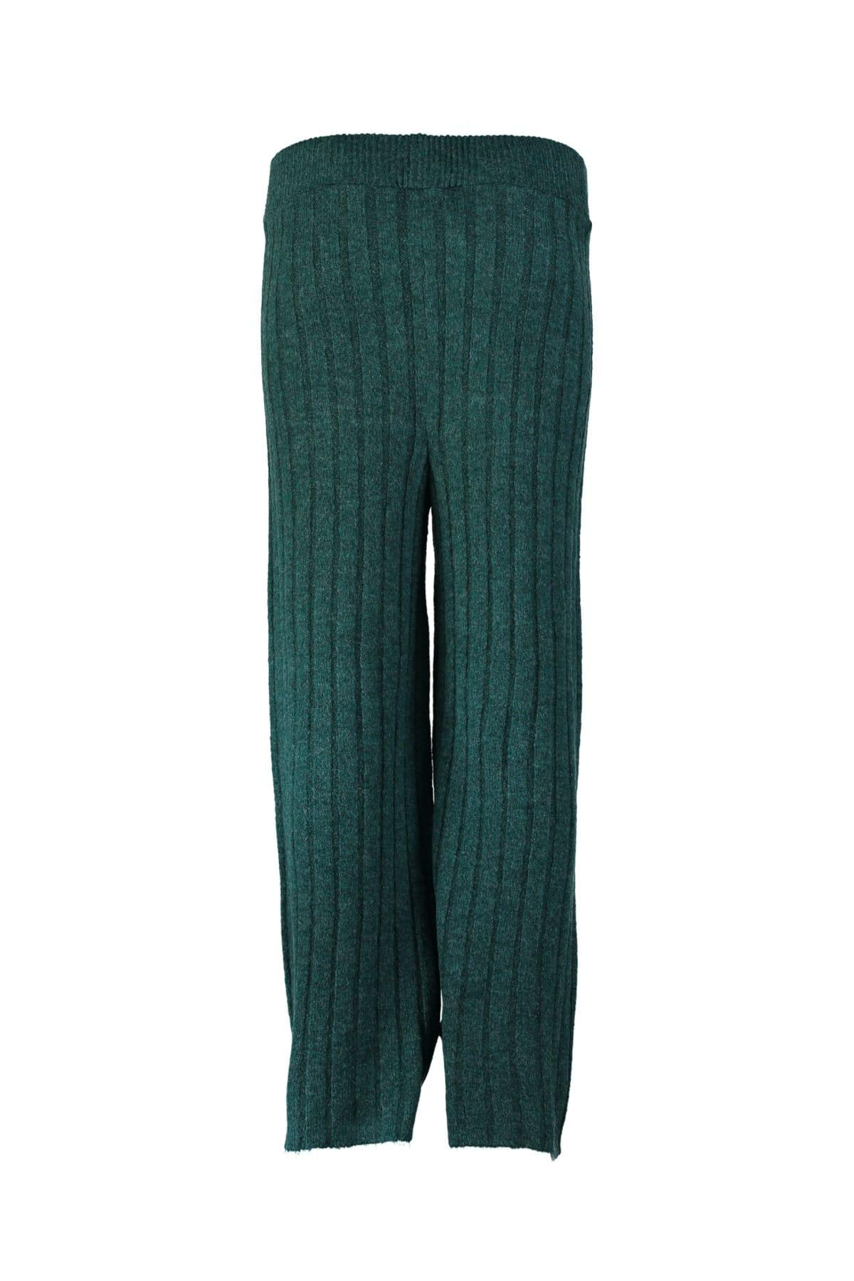 Trendyol WOMEN-Green Ribbed Sweater Pants TWOAW20ZA0036