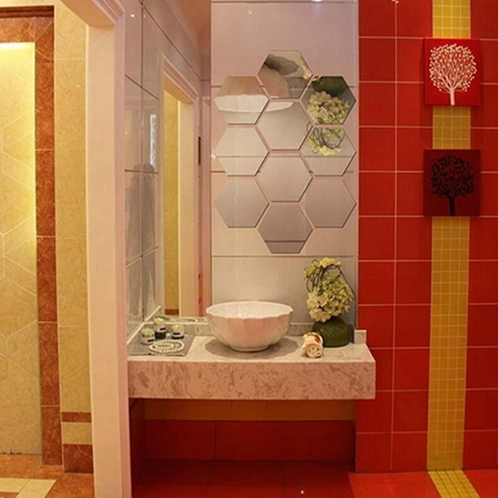 46*40*23mm 12Pcs Hexagonal Frame Stereoscopic Mirror Wall Sticker Self-adhesive Stickers Square DIY 3D Wall Decal Decoration