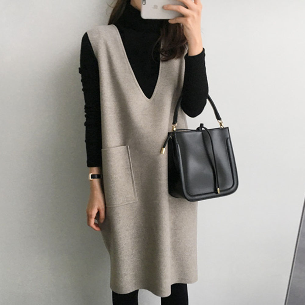 Maternity Women Pregnancy Dresses Mama Clothes Korean Knitted Two Suit Midi Solid Causal Dress Set Japen 2020 New Spring