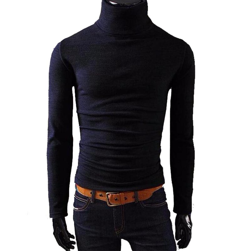 2019 New Autumn Mens Sweaters Casual Male Turtleneck Man's Black Solid Knitwear Slim Fit Brand Clothing Sweater Pullovers