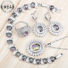 Piedras naturales de arcoíris 925, conjuntos de joyas de plata, collar de boda para mujer y pulseras colgantes, anillos, pendientes, joyero, caja de regalo