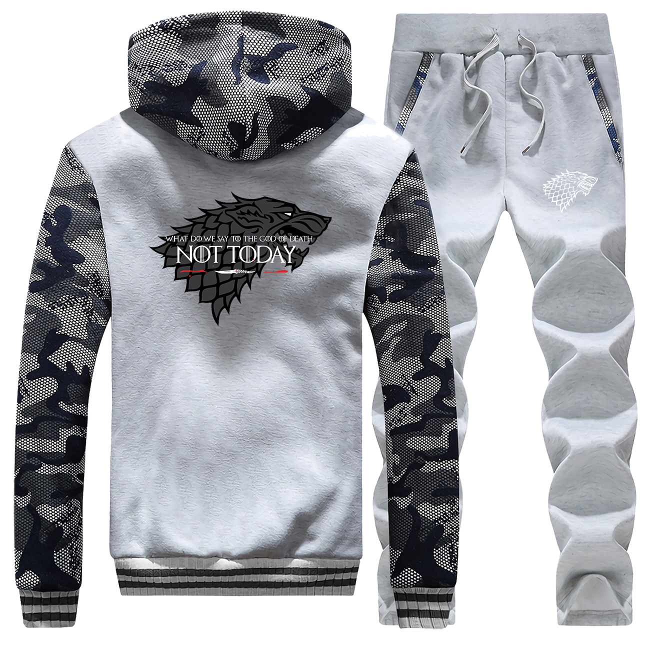 Winter New Men Hoodie Fashion Camouflage Game Of Thrones House Of Stark Casual Jackets Coat Thick + Pant 2 Piece Set Sportswear