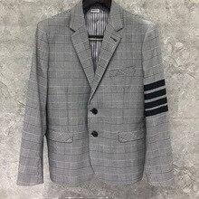 Blazer Men Jacket Coat THOM Casual Wool TB Fashion Slim Formal Gray Clothing Lattice