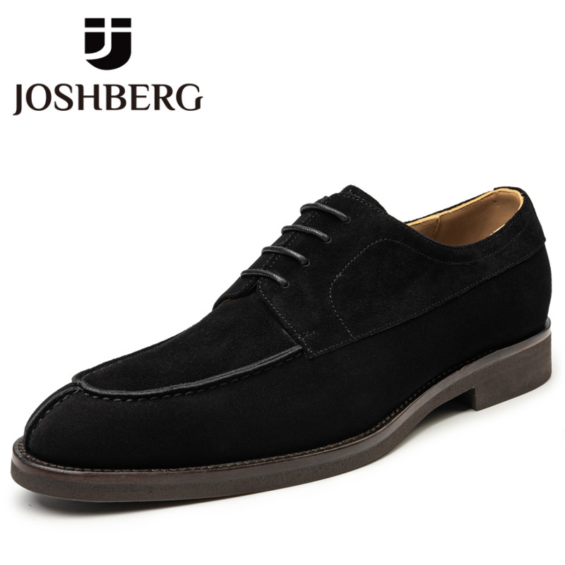 JOSHBERG Fashion Trendy Leather Cow Suede Trendy Shoes Men Comfy Dress Shoes Men Retro Shoes For Man Suits Support Dropshipping