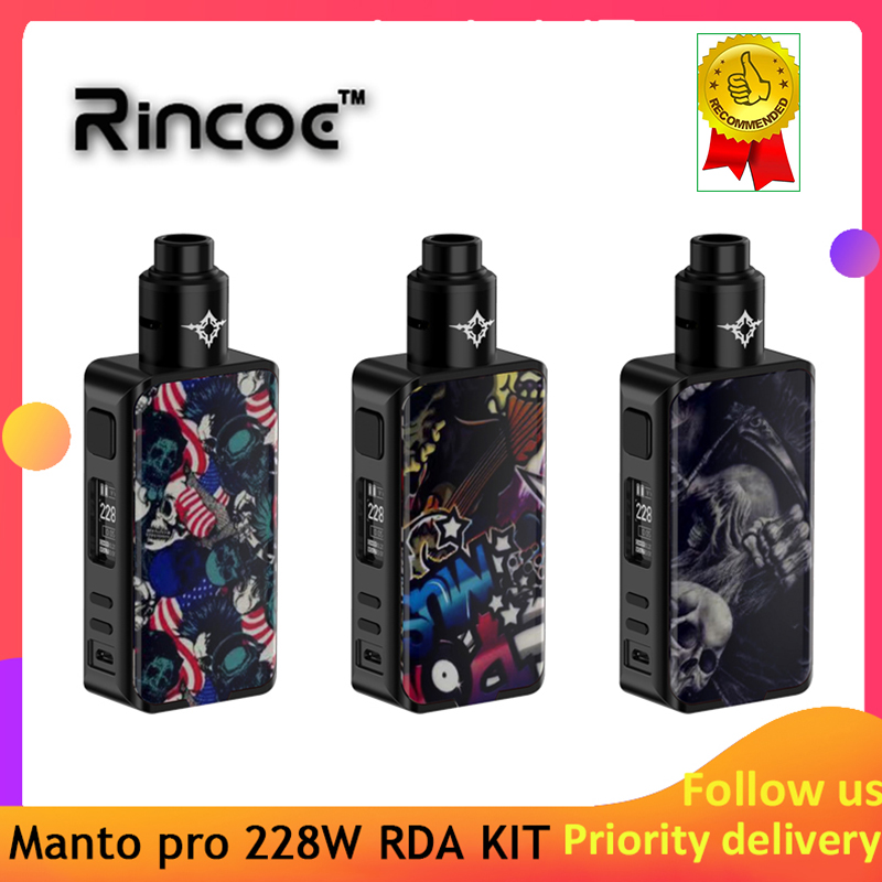 Vape Kit Rincoe Manto Pro 228W RDA KIT Powered By Dual 18650 Batteries With 510 Gold Plated Thread Electronic Cigarrete Kit