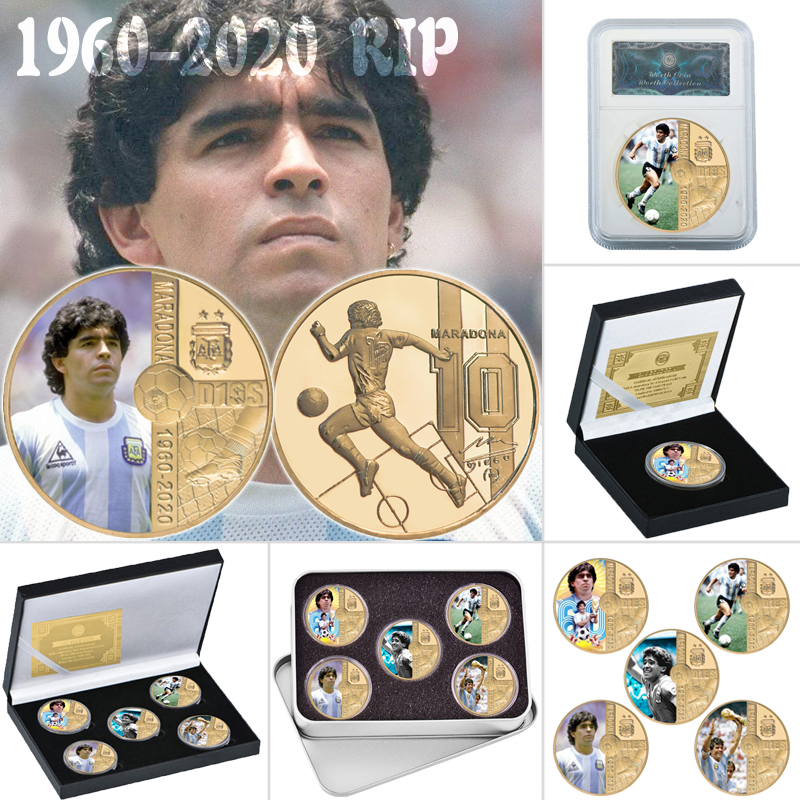 RIP 1960-2020 памятная Золотая монета с изображением Диего Марадоны, с держателем для монет, сувенирный подарок для мужчин
