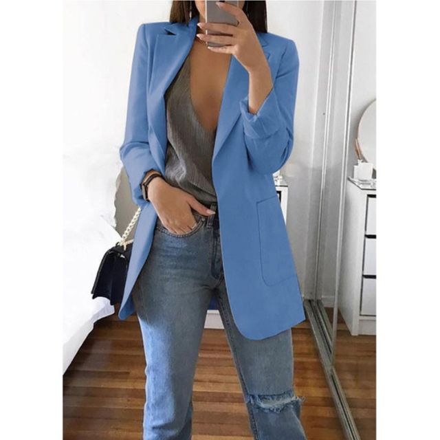 Fashion Basic Notched Collar Solid Blazer Women Spring Autumn Casual Long Sleeve Office Lady Suit Slim Business Outwear Chic Top
