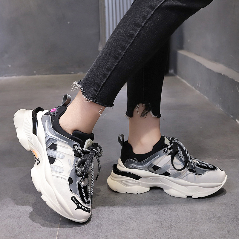 Mixed Color Casual Shoes Women Chunky Sneakers Fashion Mesh Breathable Non-slip Platform Vulcanized Shoes Female 2019