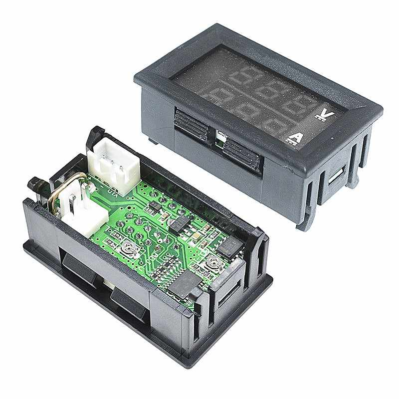 1pc新ミニデジタル電圧計電流計dc 100v 10Aパネルアンプ電圧電圧電流メーターテスター検出器デュアルledディスプレイの使用