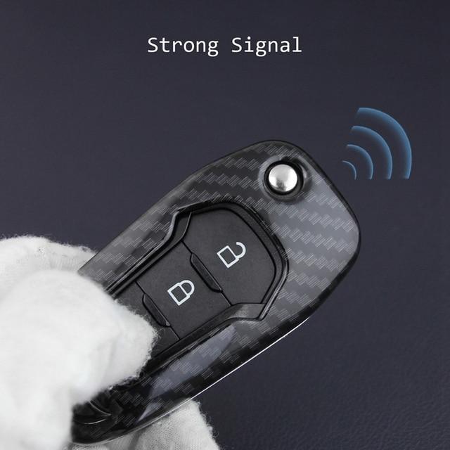 Carbon Fiber Auto Smart Key Covers Fall mit Keychain Zubehör für Ford Explorer F-150 F-250 Ranger Mondeo Ecosport