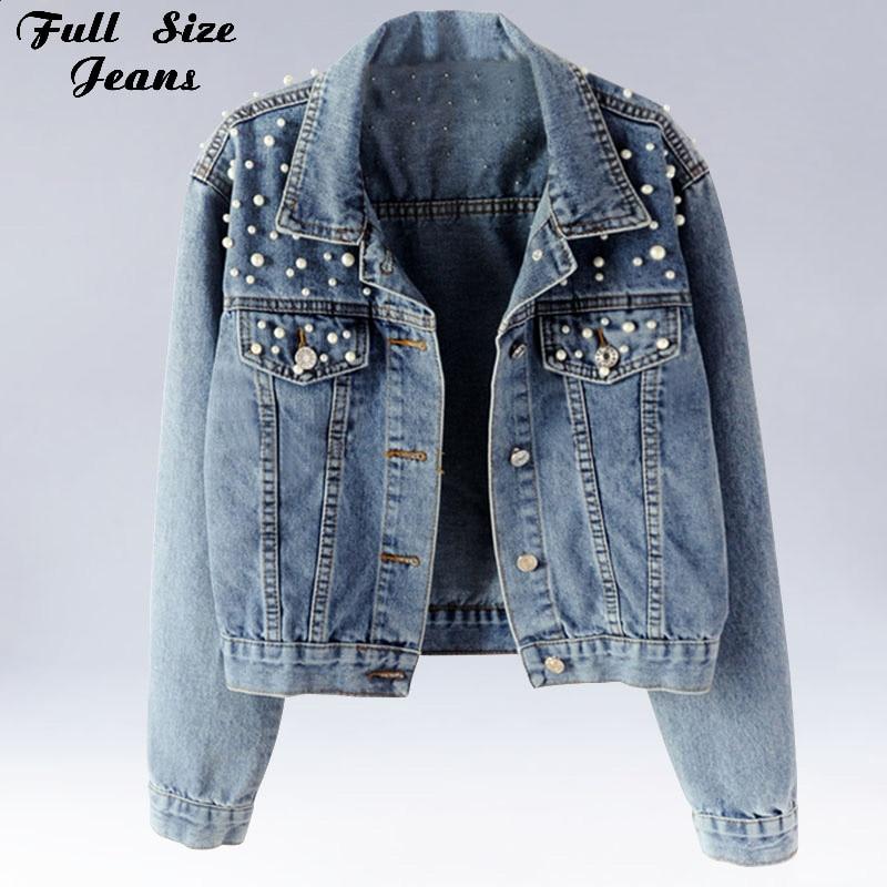 Plus Size Pearl Beading Short Denim Jackets 3Xl 5Xl Women White Wash Long Sleeve Vintage Casual Jean Jacket Bomber Denim Coat