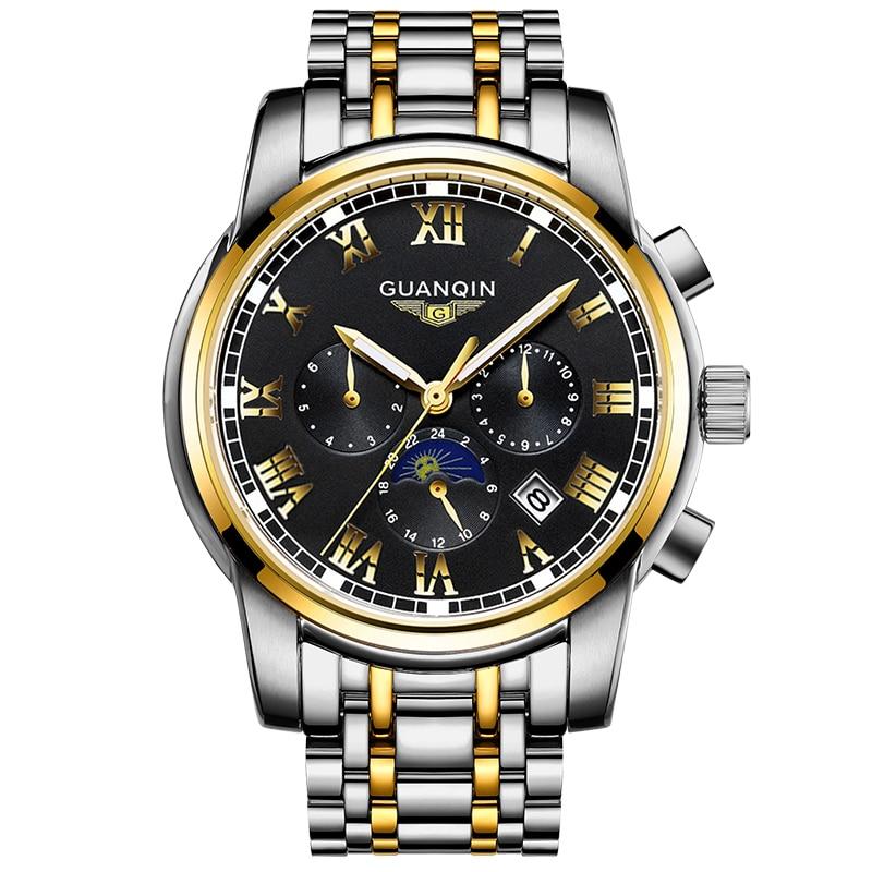 GUANQIN GJ16041 orologi degli uomini di marca di lusso Uomini Orologi In Oro Moon Phase Data Mese Settimana Luminoso Zaffiro Uomo Orologio