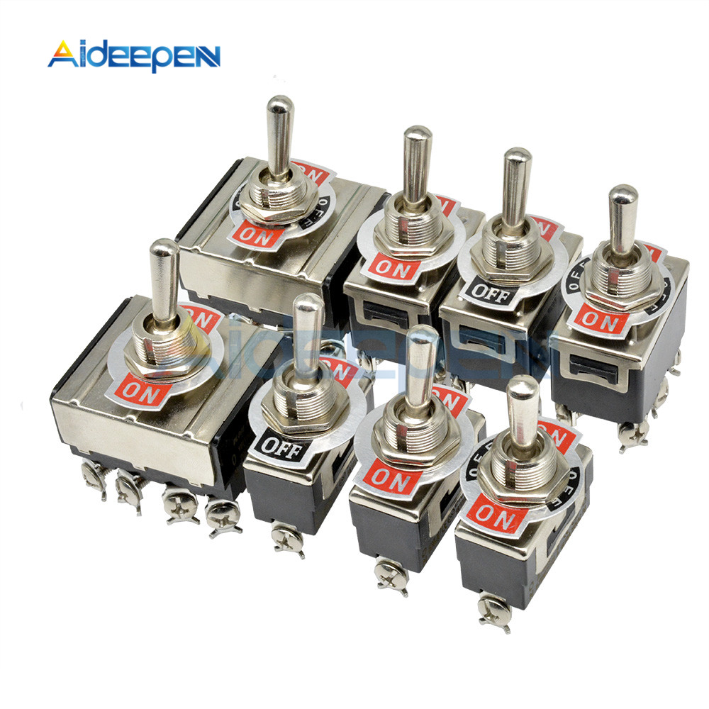 Mini Auto Toggle Switch AC 250V 16A 2/3/4/6/12 Pin ON-OFF ON-ON ON-OFF-ON 2/3 Position Copper/Silver Contact With Waterproof Cap
