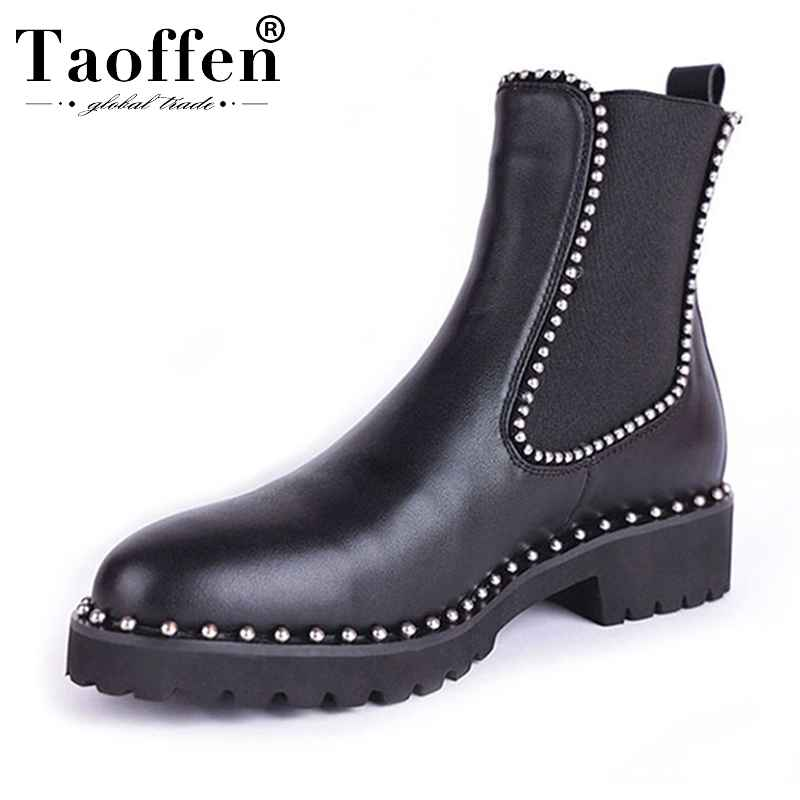 Taoffen British Style Ankle Boots Women Genuine Leather Elastic Band Flats Shoes Rivets Round Toe Women Footwear Size 33-43