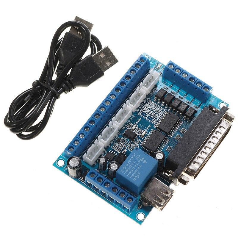 1 шт. 5-осевой интерфейс пробойной платы с ЧПУ с usb-кабелем для драйвера шагового двигателя MACH3 плата с ЧПУ параллельное Управление портами