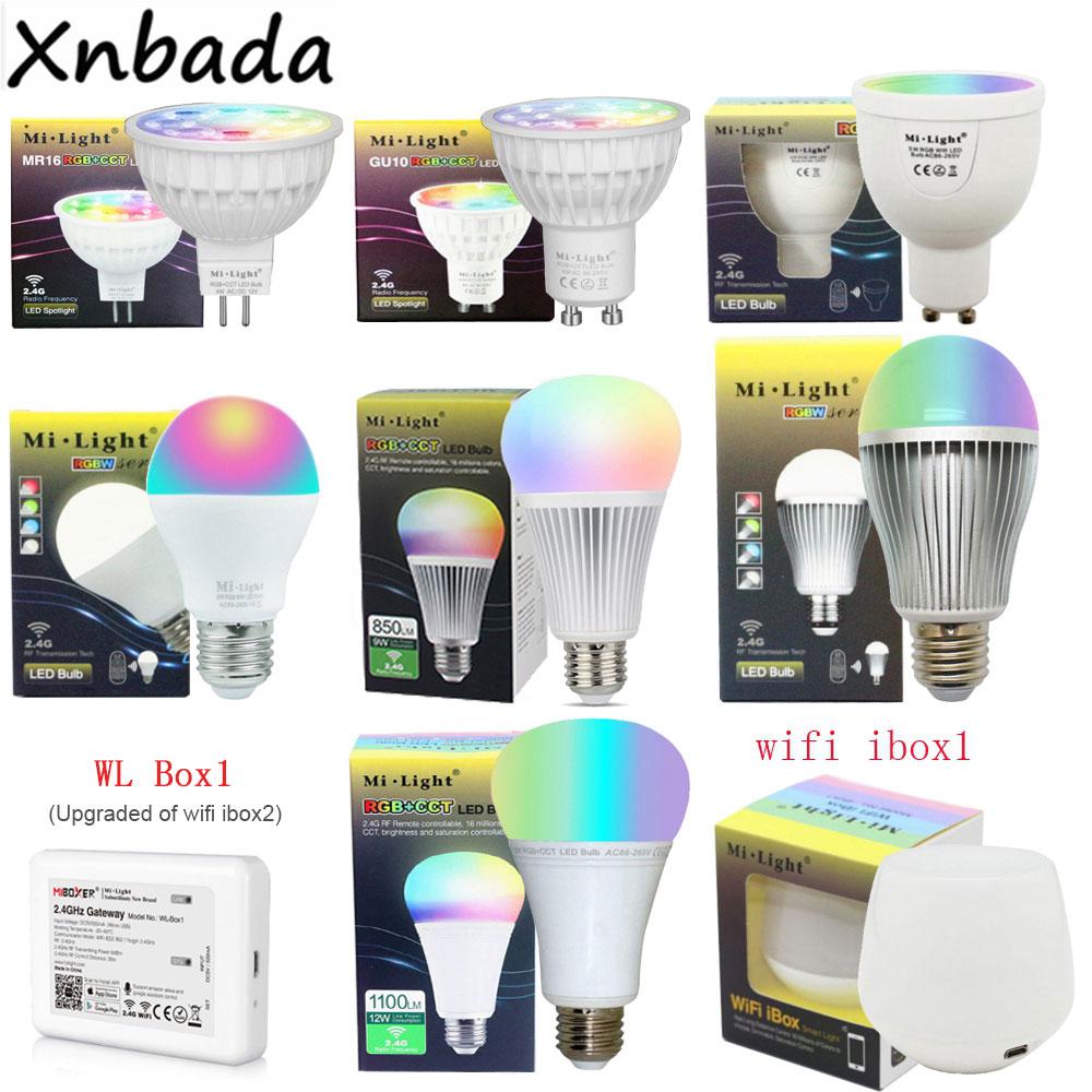 Milight Dimmable Led Bulb 4W 5W 6W 9W 12W MR16 GU10 E27 RGBW RGBWW RGB+CCT Led Lamps